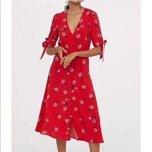 H&M red floral button midi dress